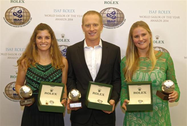 Martine Grael (esquerda), James Spithill e Kahena Kunze: os premiados da noite